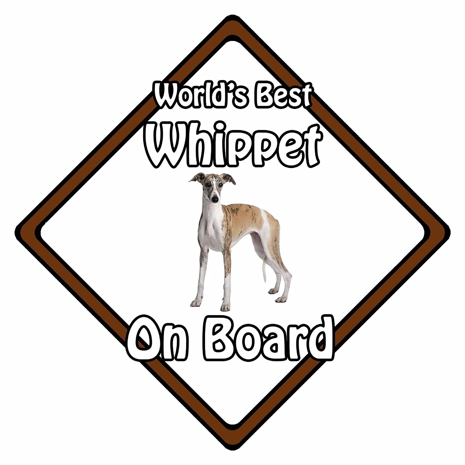 Non Personalised Dog On Board Car Safety Sign Worlds Best Whippet On Board