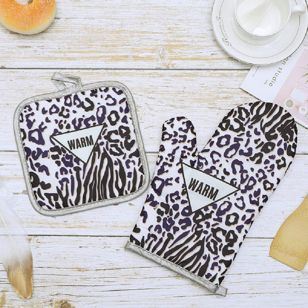 2 pezzi Leopard resistenti al calore guanti da forno con cotone resistente al calore anello per appenderlo antiscivolo guanti da cucina per cuochi barbecue cottura grigliate Guanto da forno presina