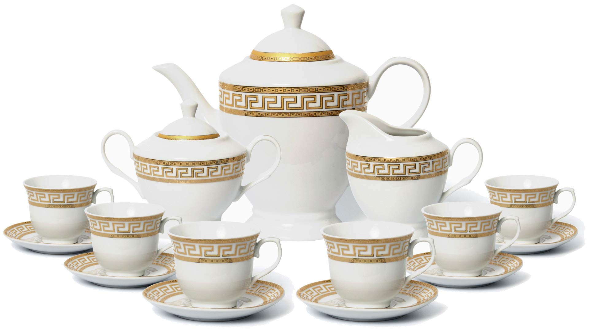 Euro Porcelain 17-Pc. Vintage 'Gold Greek Key' Tea Cup Coffee Set with 24K Gold-Plated Ornament, Complete Service for 6