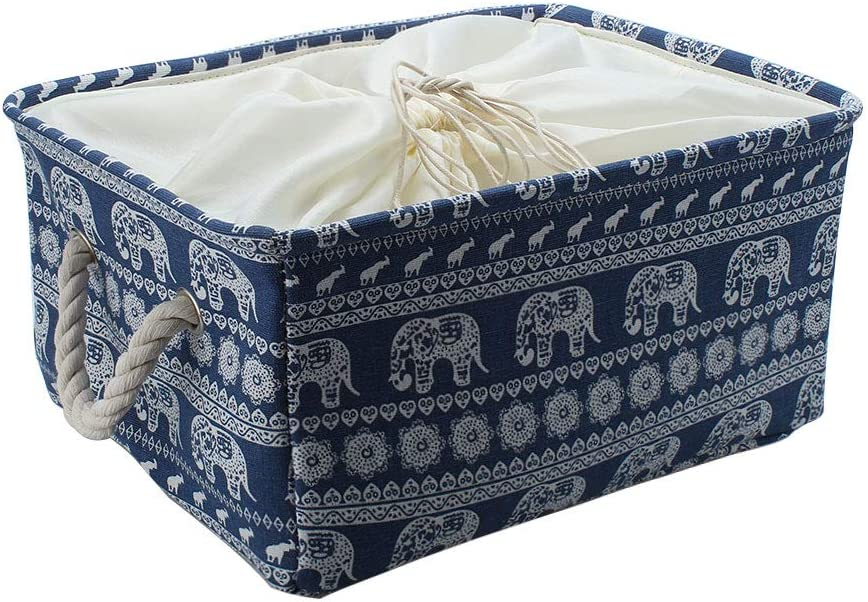 uxcell Blue Elephant Storage Bin Basket with Handles, Canvas Fabric Storage Bins Laundry Basket with Drawstring Closure for Toys Organizer Office Closet (Small - 12.2 x 8.3 x 5.1inches)