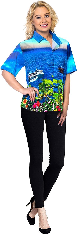 LA LEELA Womens Tropical Hawaiian Shirt Regular Fit Short Sleeve 3D Printed