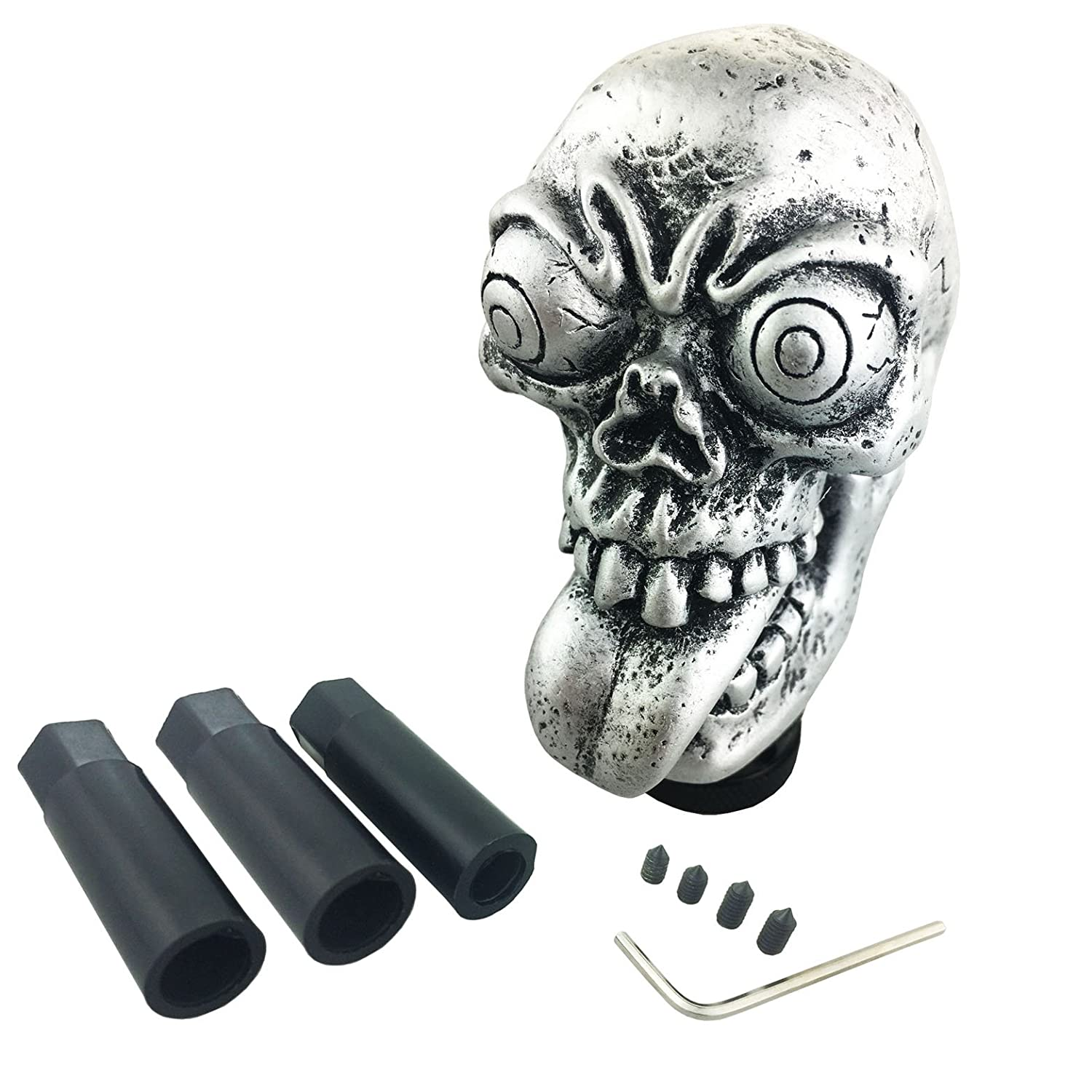 Arenbel New Universal Manual and Automatic Car Gear Stick Shifter Knob Silver Skull Big Eye Shift Lever Fit Most Cars ACN310-BL310B