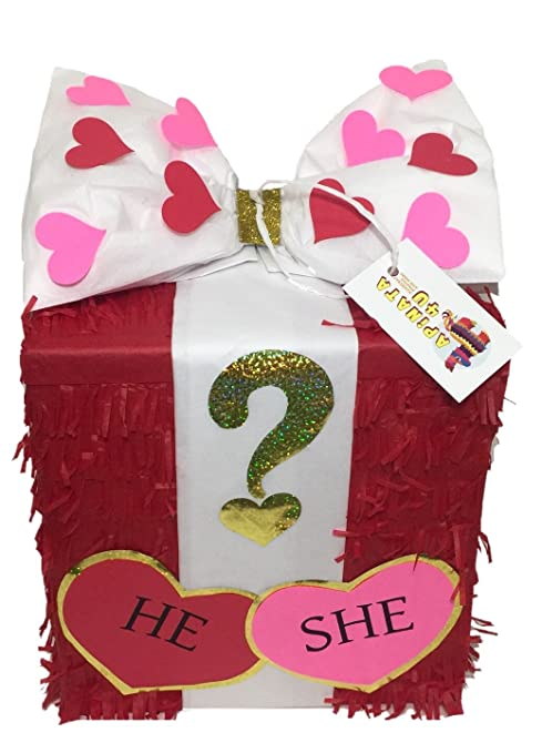 Amazon Com Valentine S Day Gender Reveal Gift Box Pinata Pull
