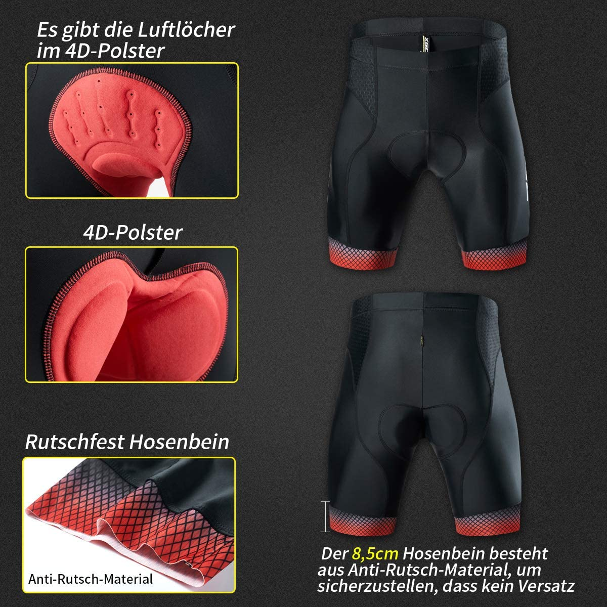 XGC Mens Cycling Shorts Cycling Shorts with Elasticated Breathable 4D Gel Seat Pad with High Density