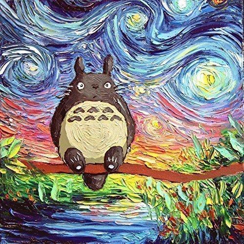 Print Starry Night artwork van Gogh Never Met His Neighbor Totoro Art by Aja 8x8, 10x10, 12x12, 20x20, 24x24 inch sizes