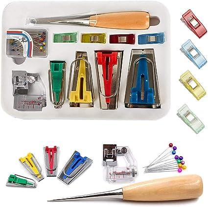 Bias Tape Maker 4 Size Sewing Clips Binding Foot Bias Tape Maker Set-Rotary Cutter Awl Ball Pin