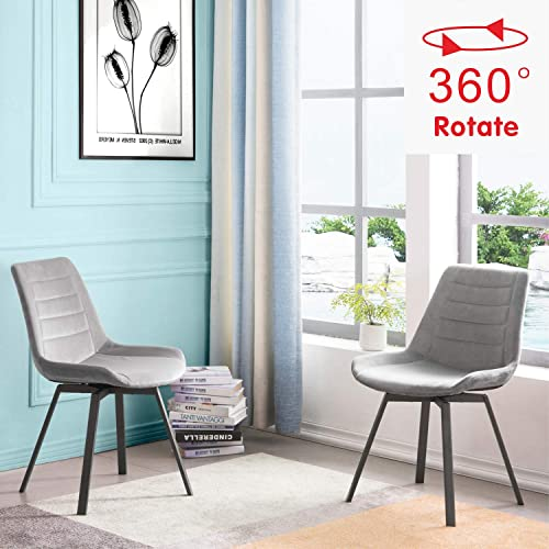 OVIOS Dining Chairs,Velvet Accent Chair Set of 2,Swivel Kitchen Chairs with Sturdy Metal Legs. Light Grey