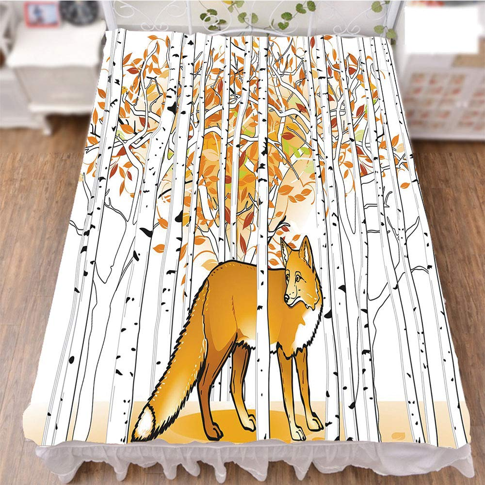 iPrint Bed Skirt Dust Ruffle Bed Wrap 3D Print,Autumn Forest Birch Trees Rustic Wilderness Animal,Fashion Personality Customization adds Color to Your Bedroom. by 94.5''x102.3''