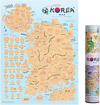 Mcbazel Scratch Off Map 15.75 x 11.81 inches Korea Edition ...