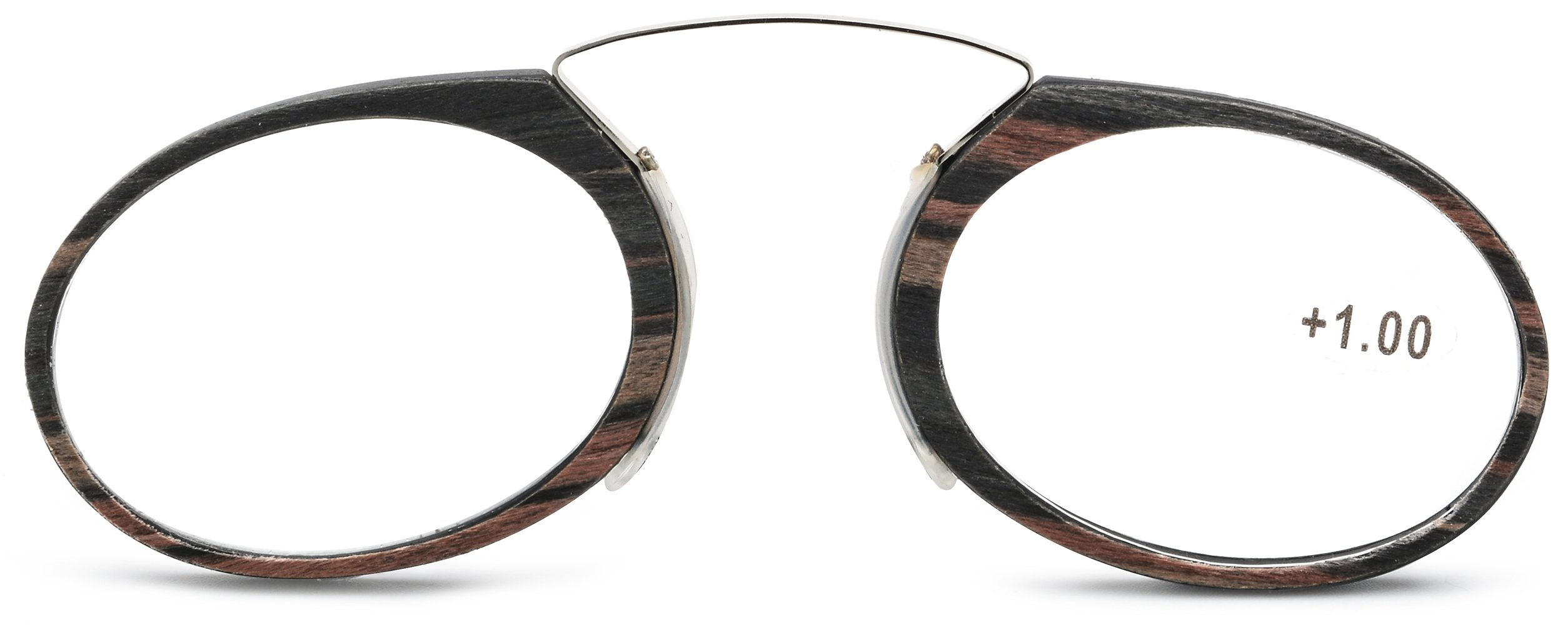 d791ee25d3a1 Pince Nez Style Clamp Nose Resting Pinching Reading Glasses ith No Temple  Arms Readers for Men and Women FJB02 (Gray Brown