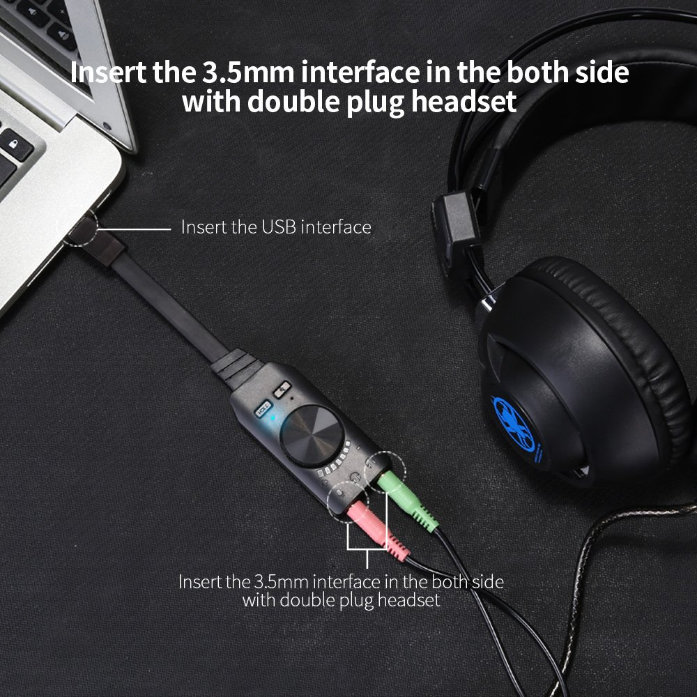 Audio Usb Interface Virtual 7.1 Channel Audio Usb adapter Sound Card Adapter 3.5mm mic & audio Free Drive one key 7.1 CH EMC CABLE Laptop Desktop Windows Vista Mac Gaming Headphones (No drivers Need