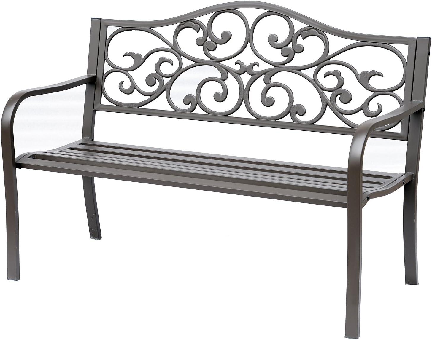 Outsunny 50 Vintage Floral Garden Cast Iron Patio Bench