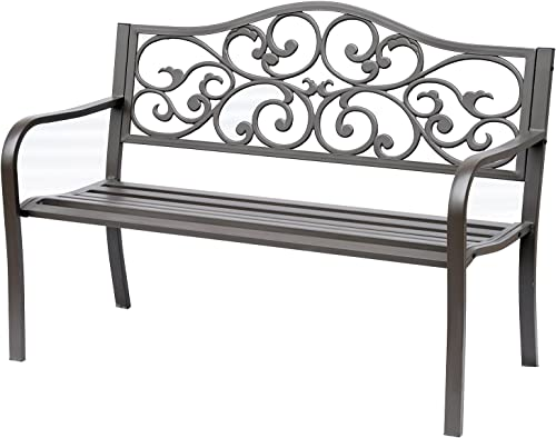 Outsunny 50″ Vintage Floral Garden Cast Iron Patio Bench
