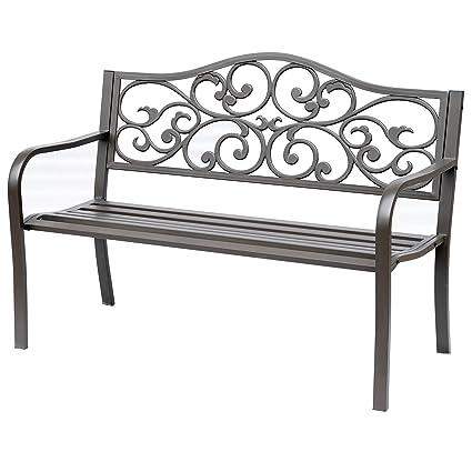 Outsunny 50u0026quot; Vintage Floral Garden Cast Iron Patio Bench Garden Chair