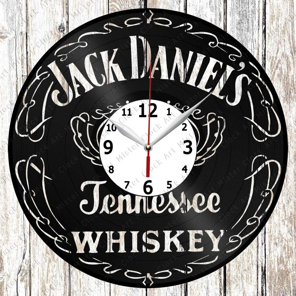 Vinyl Clock - Vinyl Wall Clock - Jack Daniels Whiskey - Handmade Original Gift - Custom Design - Personalised Vinyl Record Wall Clock - Unique Art Home Decor -