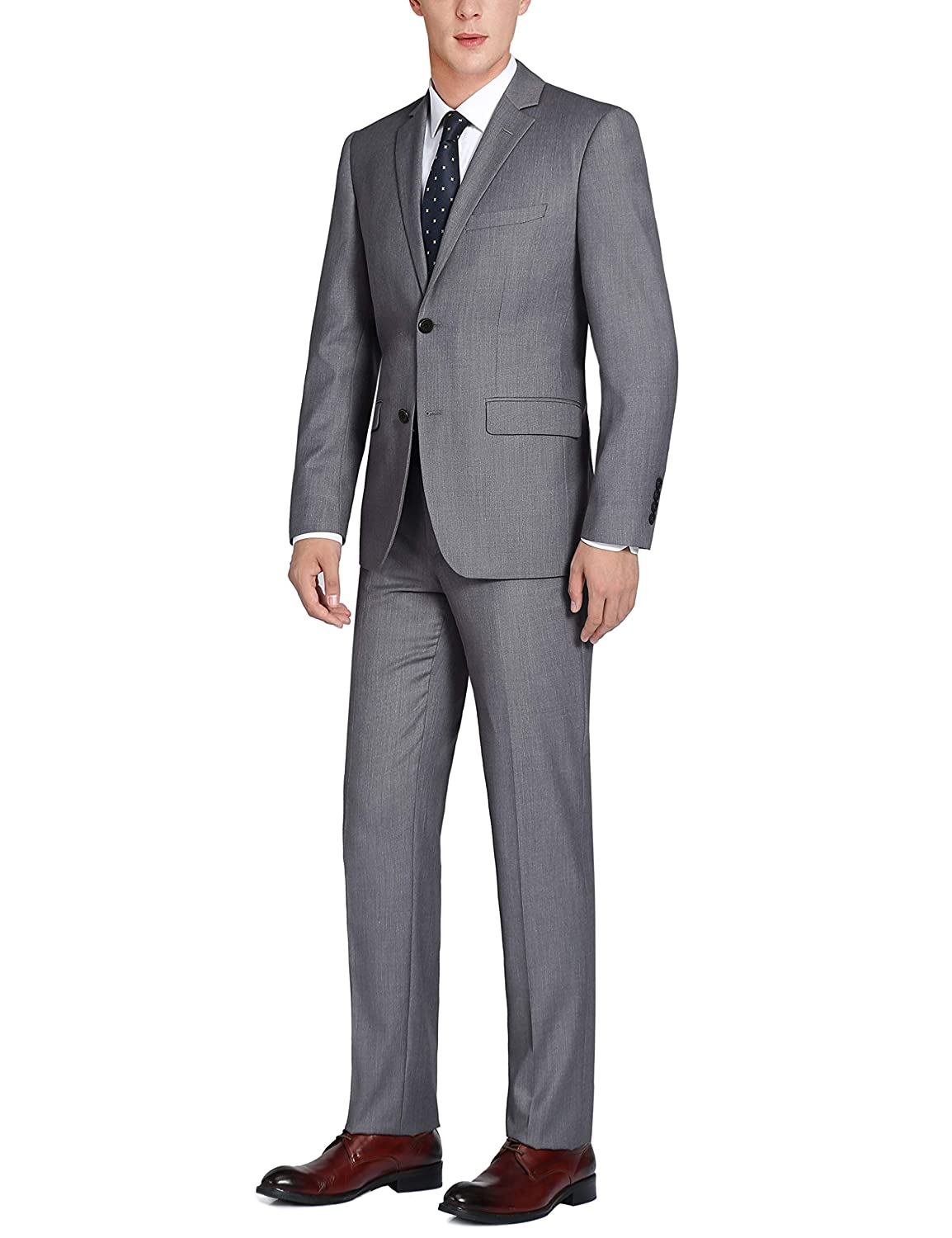 CHAMA Mens 100/% Wool Single Breasted Two Button Notch Lapel Classic Fit Suit