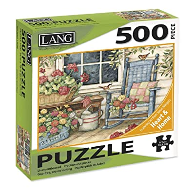 """LANG - 500 Piece Puzzle -""""Rocking Chair"""", Artwork by Susan Winget - Linen Finish - 24"""" x 18"""" Completed: Toys & Games"""