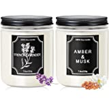 Candles for Home Scented, 2 Pack Scented Candles Amber&Musk Lavender Candle 35-40 Hours Long Lasting Soy Candles Gifts for Wo