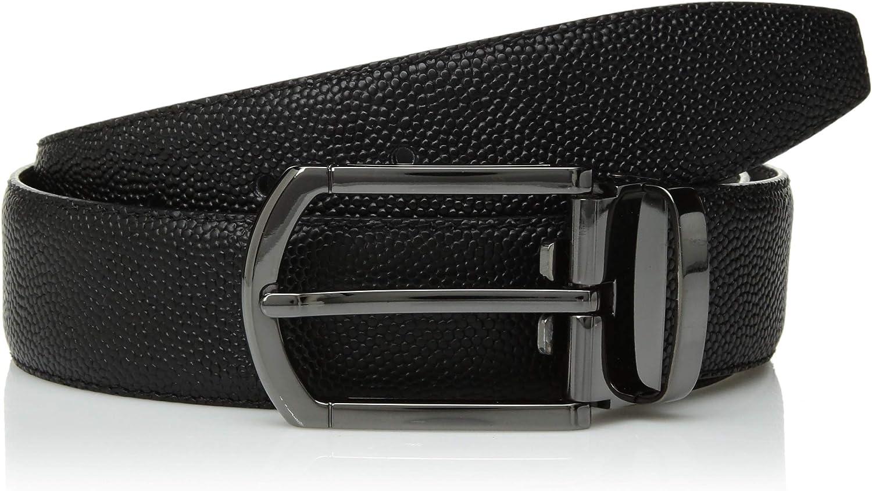 Bugatchi Mens Reversible Mini Grained Leather Belt