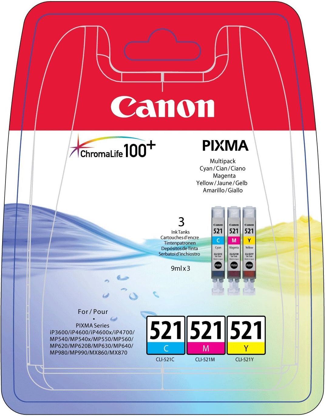 Canon Tintenpatrone Cl 521 C M Y Original Für Tintenstrahldrucker Bürobedarf Schreibwaren
