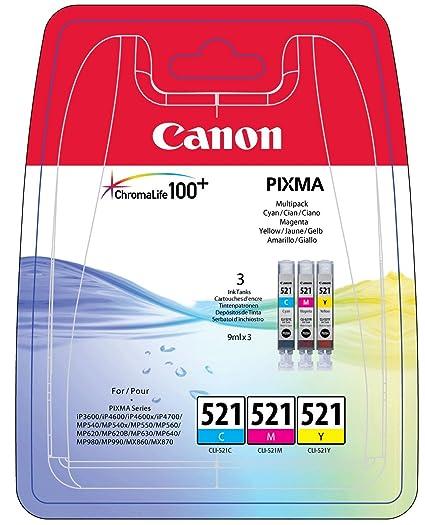 Canon CLI-521 3 Cartuchos Multipack de tinta original Cian/Magenta/Amarillo para Impresora de Inyeccion de tinta Pixma ...