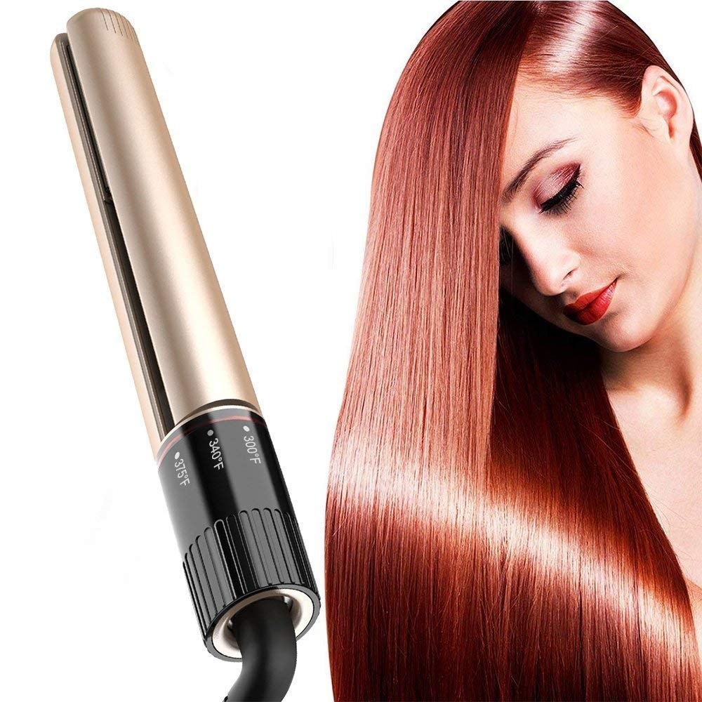 Professional Hair Straightener Salon Styler 1 inch Flat Iron for Hair-Straightening and Curling 2in1 Tourmaline Ceramic Flat Iron with One Step Rotating Adjustable Temp Setting- Gold