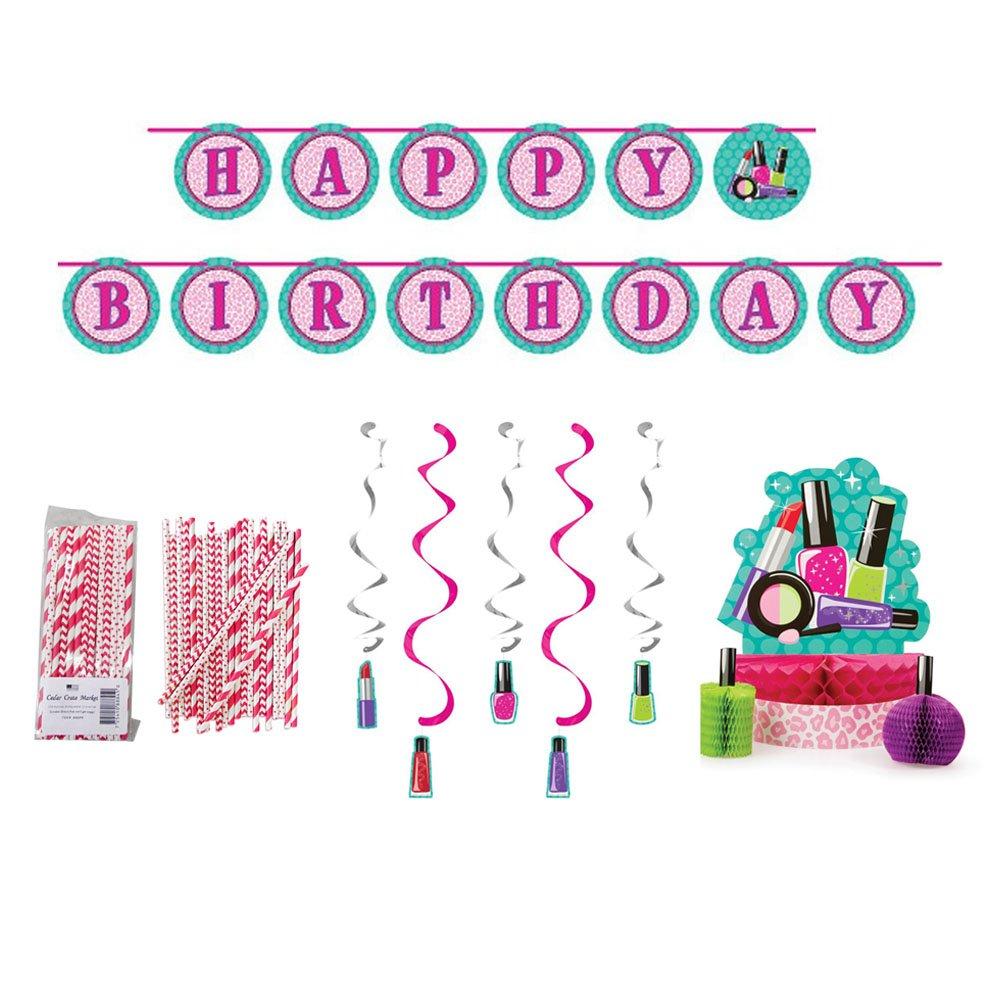 Cedar Crate Market Sparkle Spa Party Supplies Decorations Bundle: Straws, Centerpiece, Ribbon Banner, and Dizzy Danglers