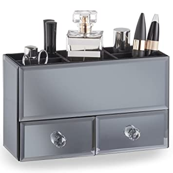 amazon com beautify gray mirrored jewelry box and cosmetic makeup