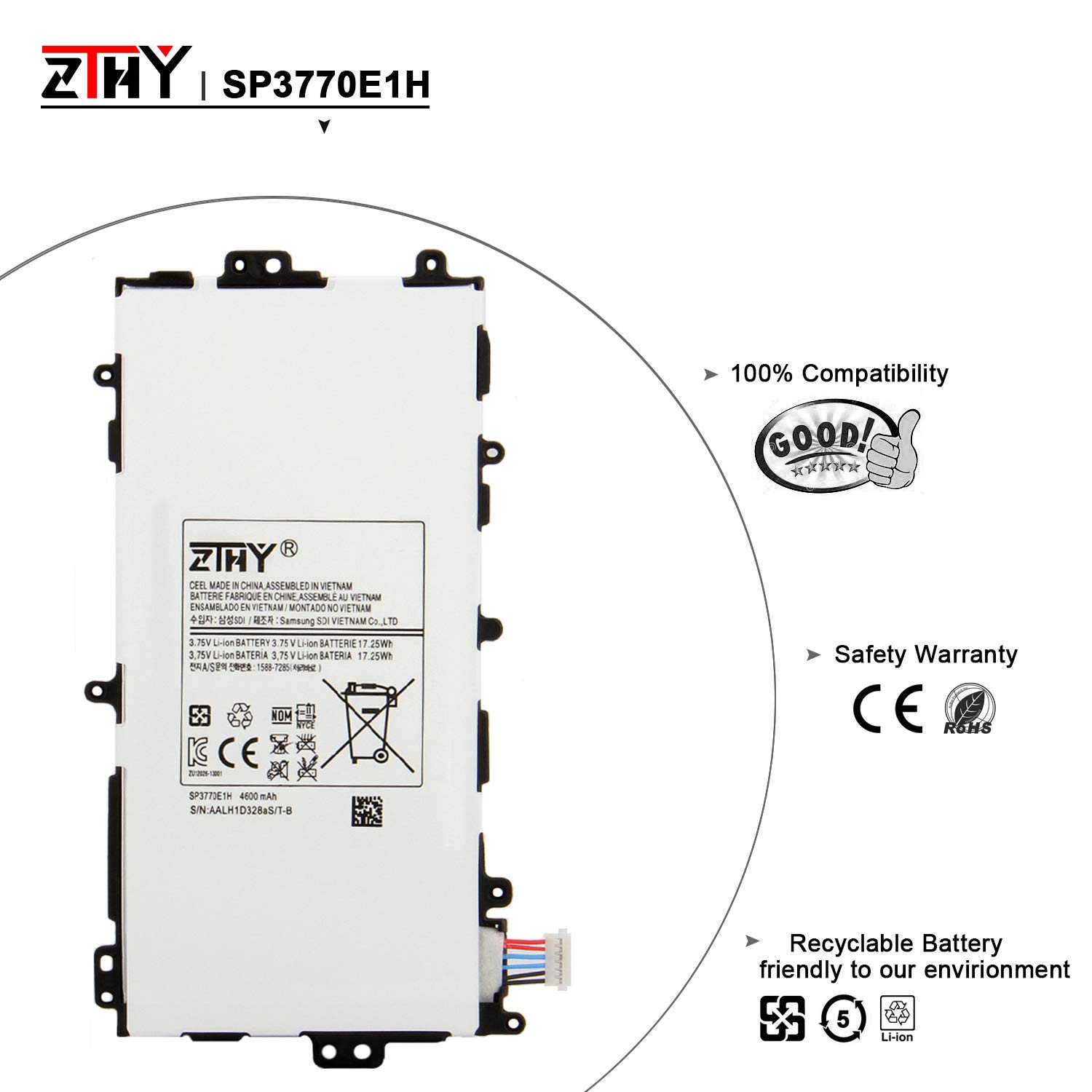 ZTHY Compatible New SP3770E1H Tablet Battery Replacement for Samsung Galaxy Note 8.0 GT-N5110 N5100 N5120 N5110 Series SGH-i467 3.75v 4600mAh With Tools by ZTHY (Image #3)