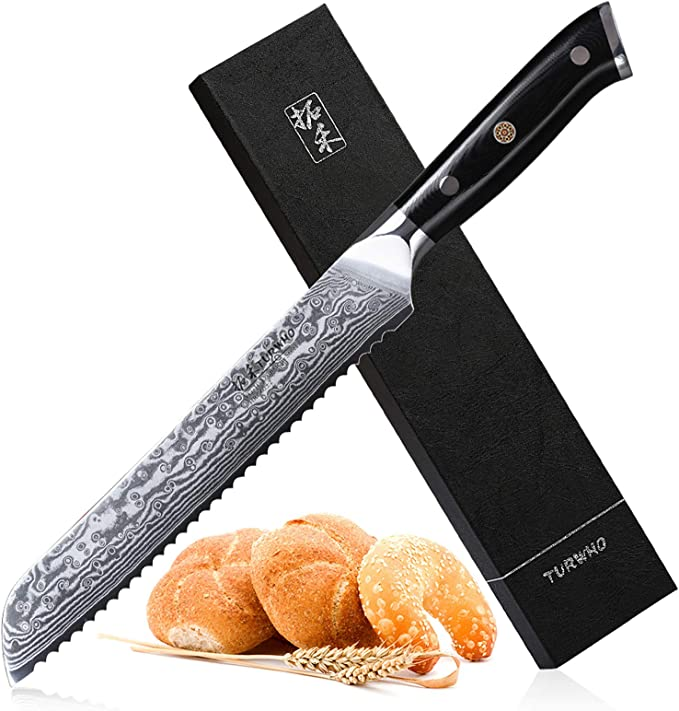 Serrated Bread Knife 8 Inch Japanese 67 Layers Dumascus Steel Kitchen Dining Amazon Com
