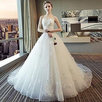 be8ef1e75c6 YT-RE Blanc Romantique Mariage Tube Haut Princesse Rêve Trailing Robe de  Mariée Bustier Perles