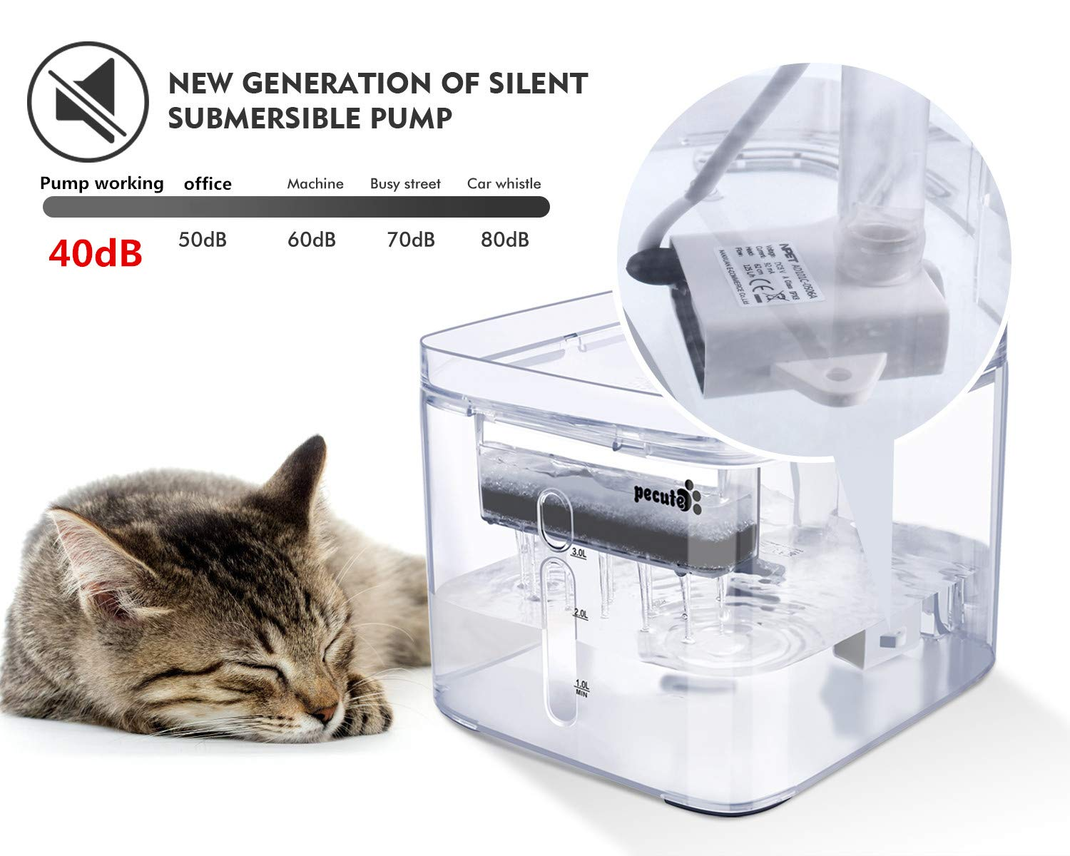 Pecute Cat Water Fountain Ultra-Quiet, 3L Large Capacity, Automatic Circulation Fully Transparent Pet Drinking Fountain, 3 Outlet Modes Great for Cats Dogs Indoor Outdoor Use (2 Reusable Filters)
