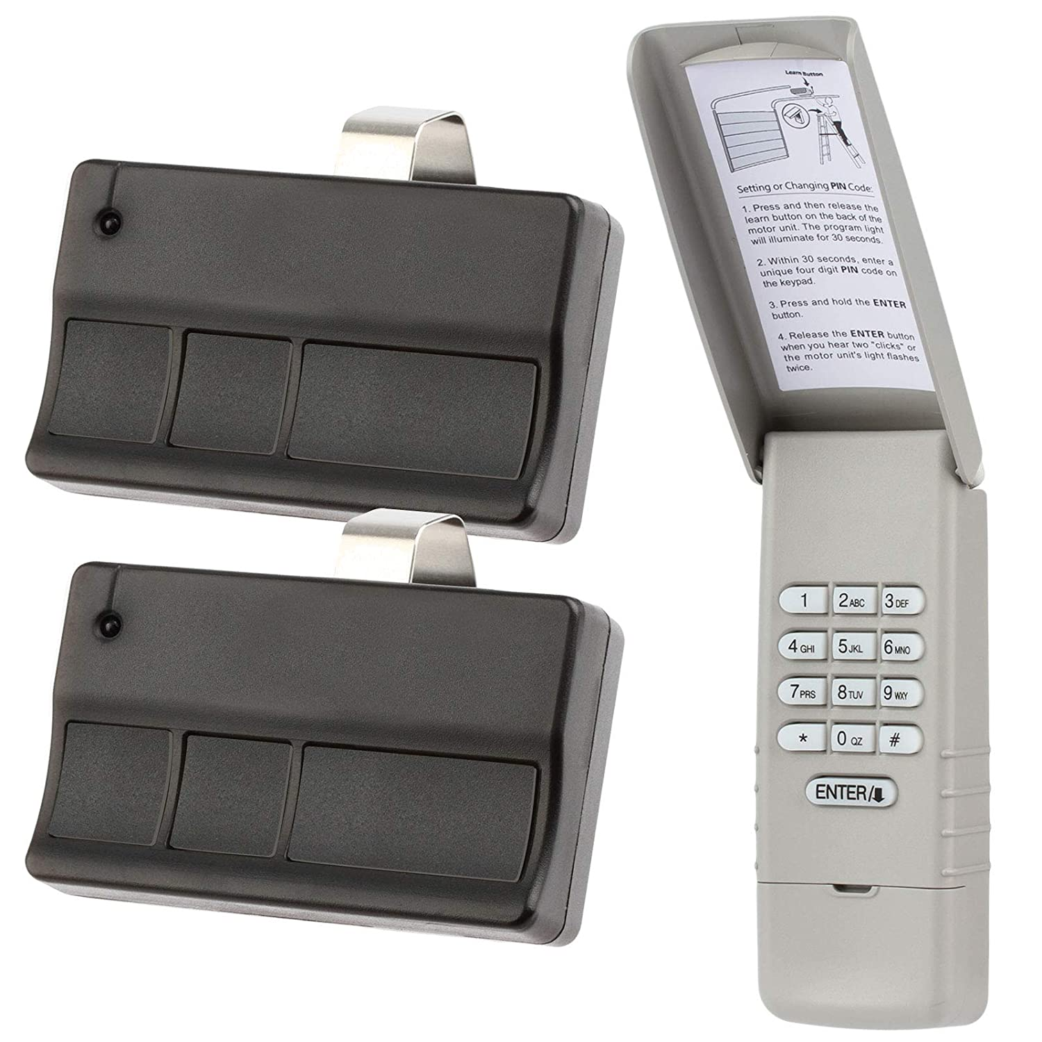 Keypad and 2 Remotes for Liftmaster Garage Door Opener (373LM + 377LM) 315mhz Purple Learn Button