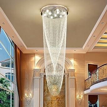 Lámpara de techoLa araña de luces de cristal, Villa moderna casa adosada Lámparas de gran escalera de interior, 5 luces / 40 * 120cm: Amazon.es: Iluminación