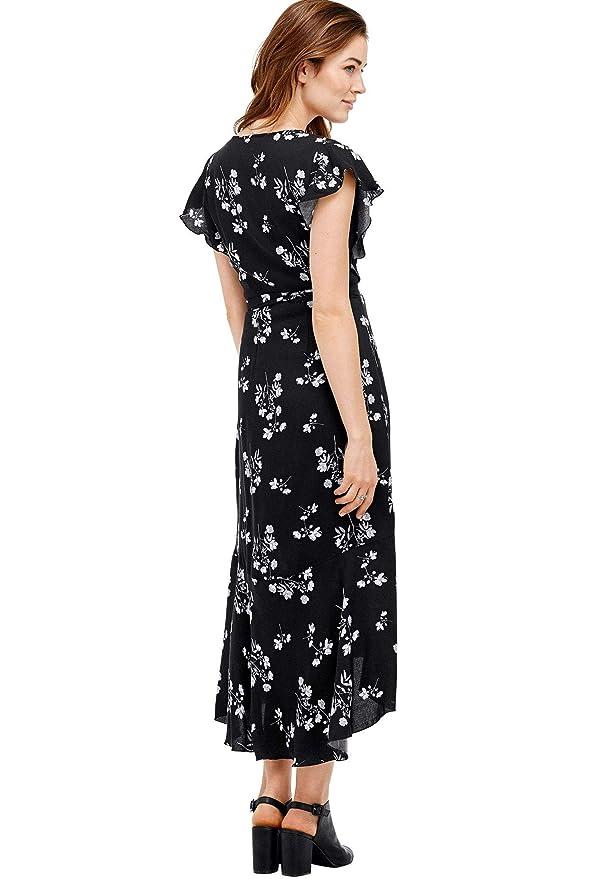 e823f2df08753 Ellos Women s Plus Size Floral Midi Wrap Dress at Amazon Women s Clothing  store