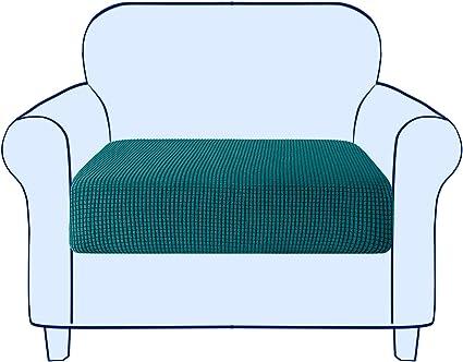 subrtex Copriseduta Divano Elasticizzato Copricuscino Morbido Protezione del Cuscino Sedile del Divano Lavabile 1 Posto, Azzurro