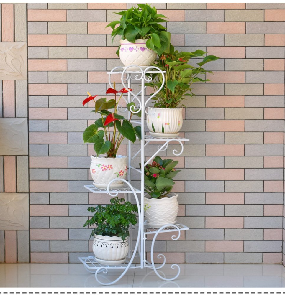 Five layers of iron creative multilayer flower racks balcony living room indoor flowerpot rack-A 201040inch(5025100cm) by Flower racks