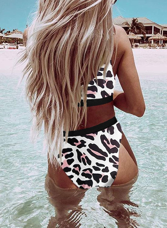 Womens High Waisted Bathing Suits Crop Tops Two Piece Swimsuit Sports High Cut Cheeky Bikini