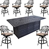 Sunvuepatio Fire Pit Dining Table Set Outdoor Heater Elisabeth bar stools cast Aluminum Furniture.