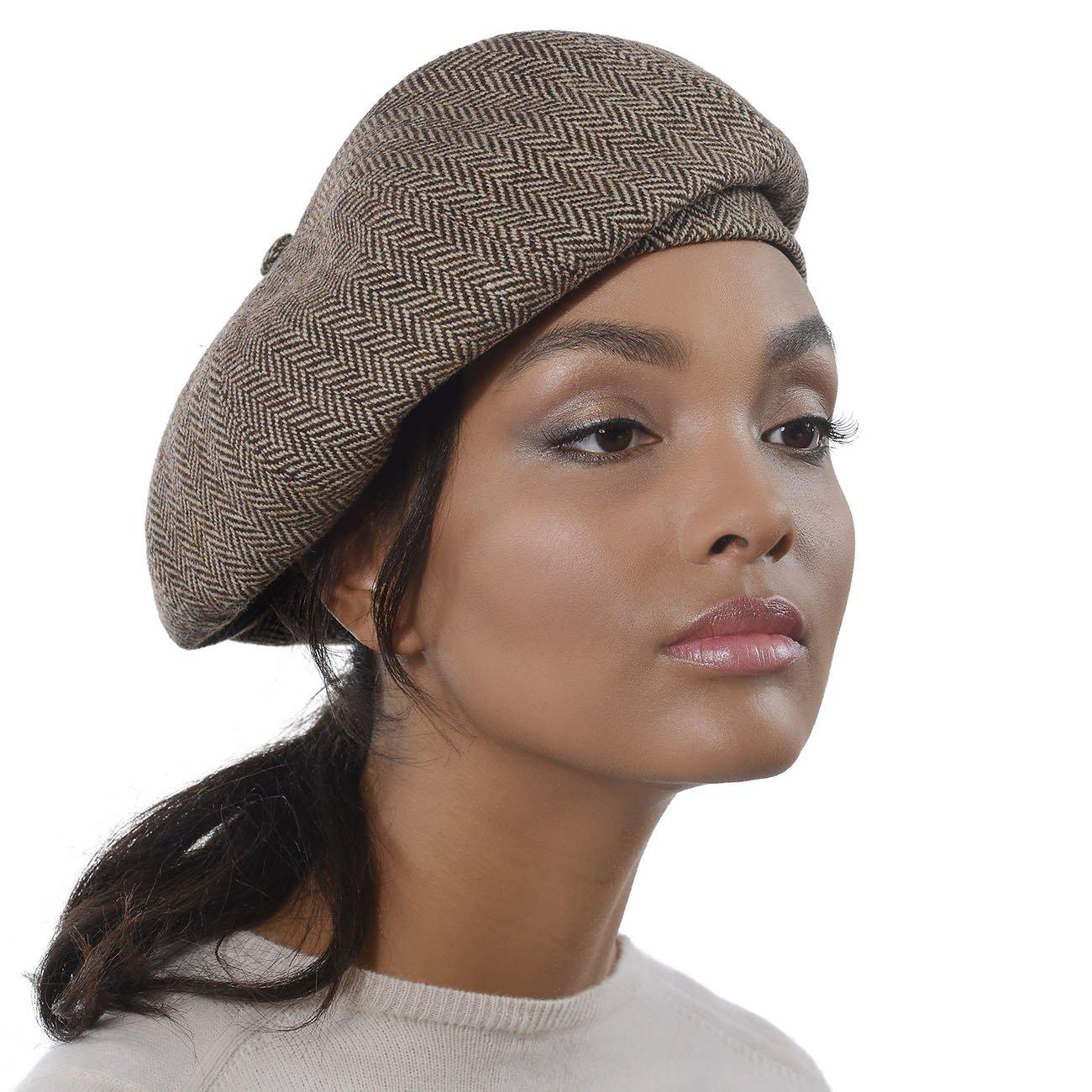 Eric Javits Designer Women's Luxury Headwear - Tweed Beret - Brown Mix