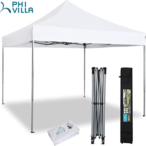 PHIVILLA 10 x 10 Commercial Pop Up Outdoor Canopy Tent Instant Reinforce Canopies with Wheeled Carry Bag, 100 Sq. Ft of Shade, White