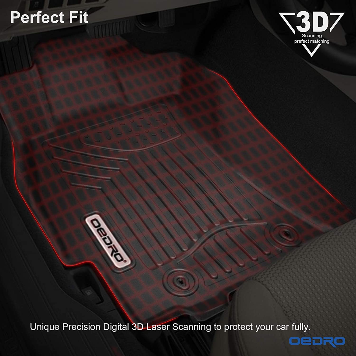 Black TPE All Weather Guard 1st and 2nd Row Liners oEdRo Floor Mats Compatible for 2015-2019 Subaru Outback//Legacy