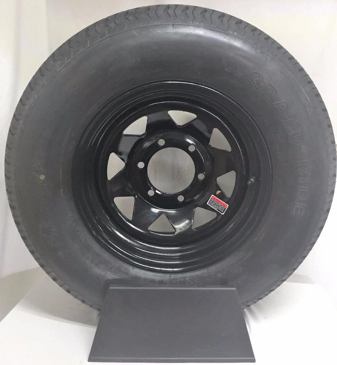 15'' UTILITY BOAT TRAILER WHEEL TIRE NEW BLACK SPOKE 6 LUG st225/75R15 10 PLY