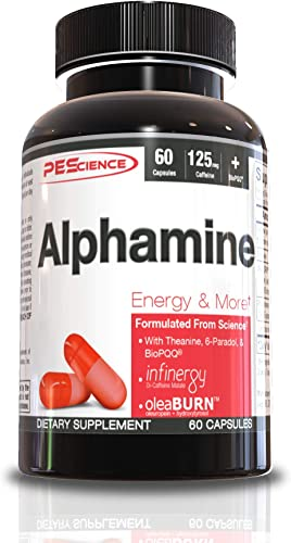 PEScience Alphamine, Pyrroloquinoline Quinone BioPQQ, Energy and Weight Loss Supplement, 60 Capsules