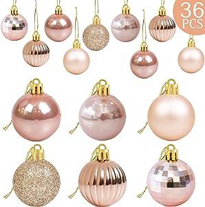 36Pcs Rose Gold Christmas Balls Ornaments for Xmas Tree - Christmas Tree Ornaments - Christmas Decorations- Christmas Tree Baubles Ornaments - Xmas Party Supplies Decorations- Christmas Holiday Decor