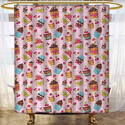 Anhounine Pink Shower Curtains Mildew Resistant Kitchen Cupcakes Muffins Strawberries And Cherries Food Eating Sweets Print