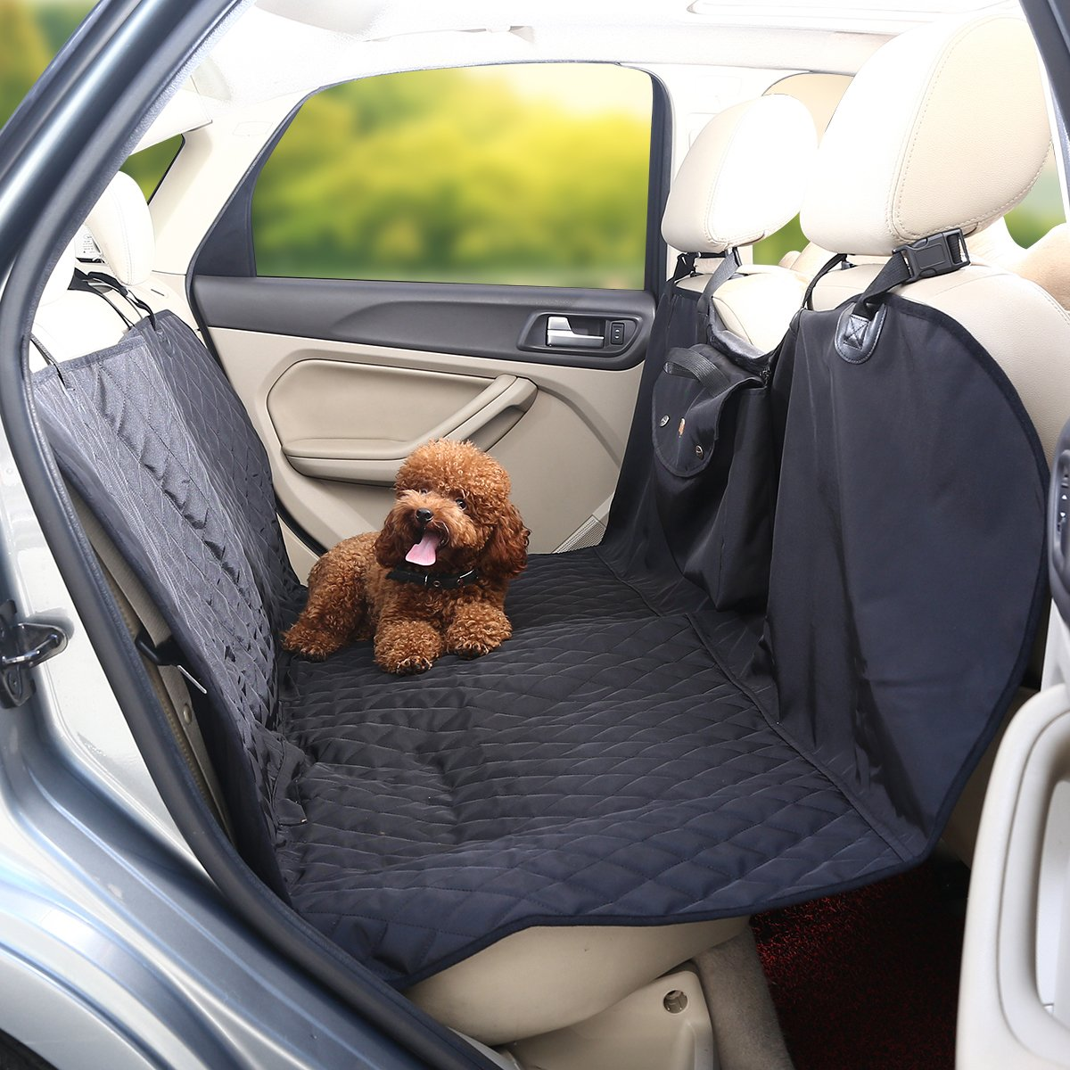 isYoung Portable Dog Car Seat Cover with Non - skid Design - Odorless, Waterproof and Durable Hammock - Harmless to Dog Seat Cover for Cars (Black/Gray)
