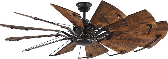 "Progress Lighting P250000-129 Springer Twelve-Blade 60"" Ceiling Fan, Architectural Bronze"