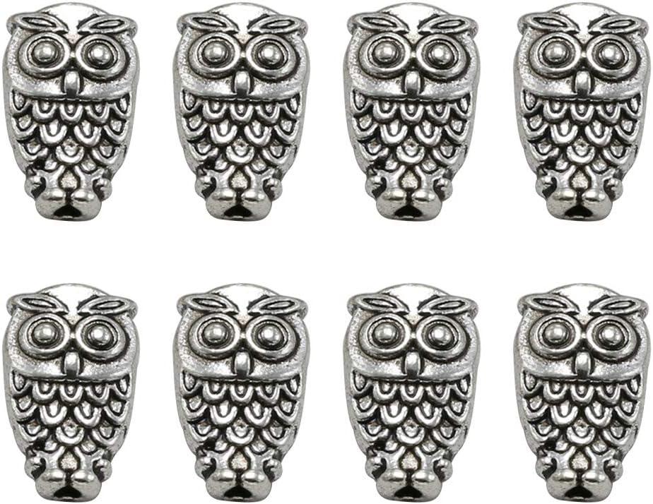 Antique Owls Beads Tibetan Silver Charms Pendant Fit DIY Bracelet 10pcs 5Styles