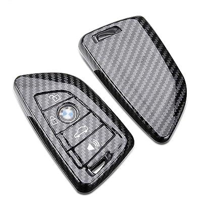 DOHON Key Fob Cover for BMW X1 X2 X3 X5 X6 2 5 6 7 Series, Protective Carbon Fiber Keyless Entry Smart Remote Key Case Holder 4 Buttons, 2Pcs: Automotive